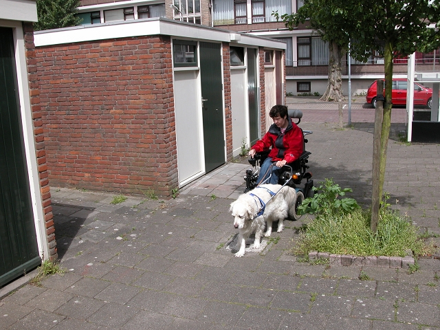 Beau geleidt de elektrische rolstoel langs de schuurtjes