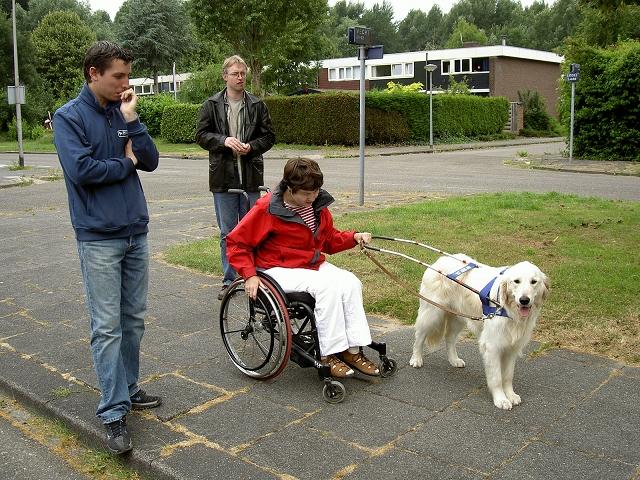 Ilco geleidt de handbewogen rolstoel.